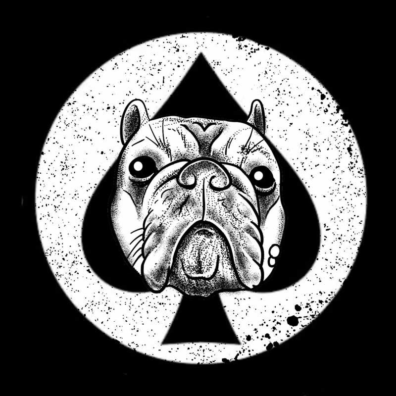 Logo of a dogs head on top of a spade