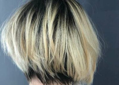 Person with two toned hair, black and blonde.