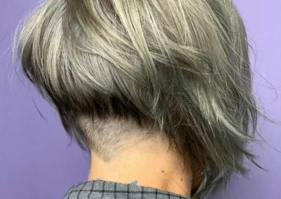 Short haircut showing the back of the head and neck.
